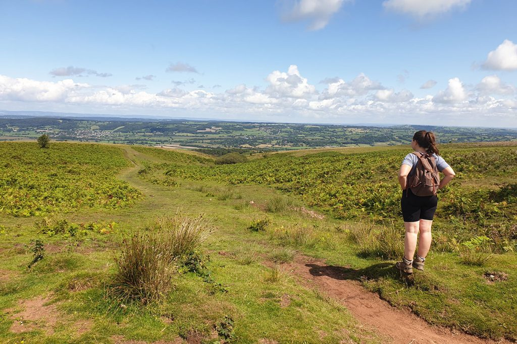 Girl hiking in Mendip Hills