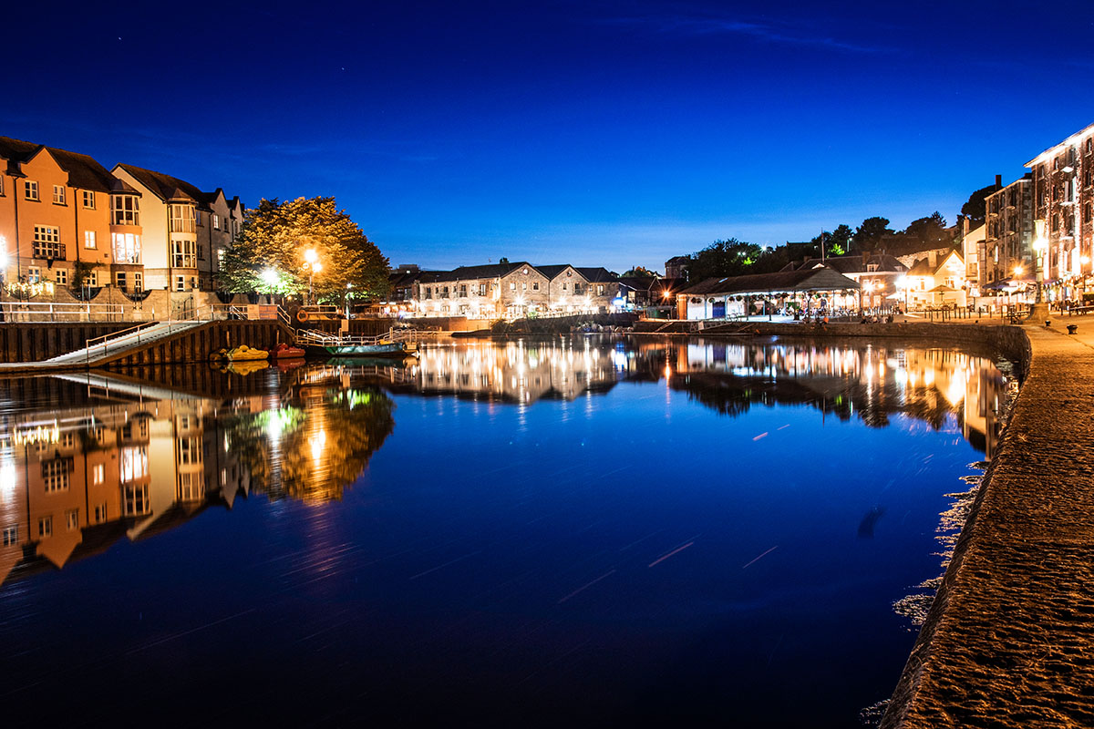 Nighttime view of Exeter Quay
