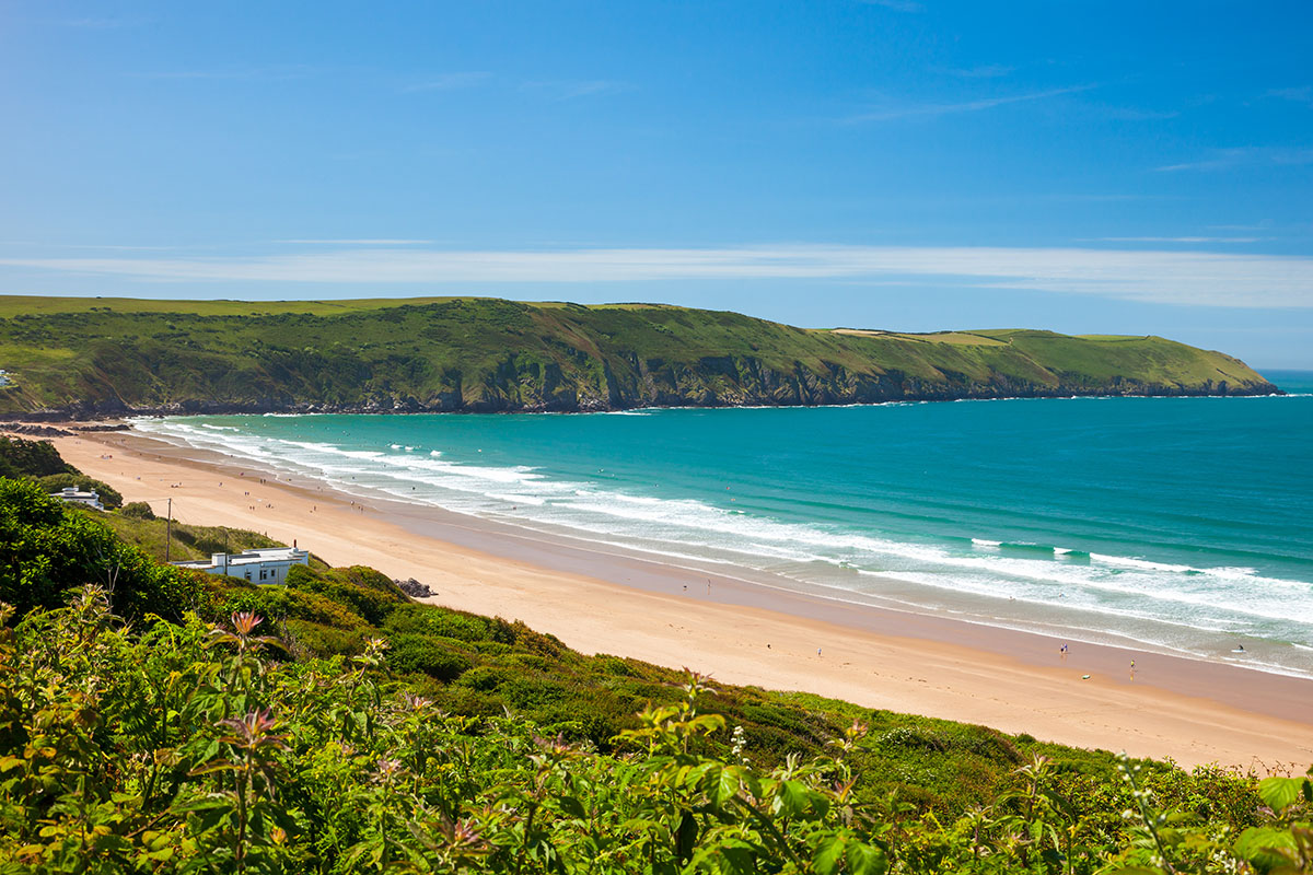 Tropical looking beach in North Devon