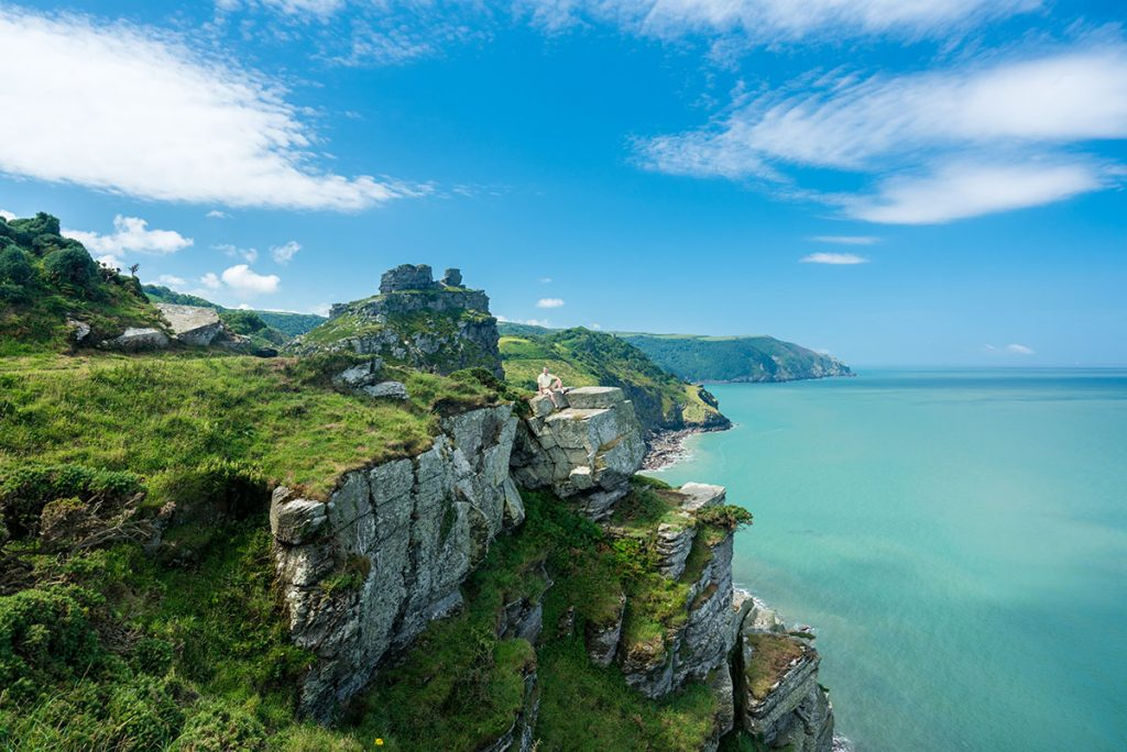 Beautiful view of the Valley of Rocks with stunning blue water and sky