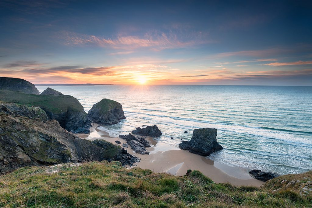 Sunset at Bedruthan Steps, near Newquay in Cornwall