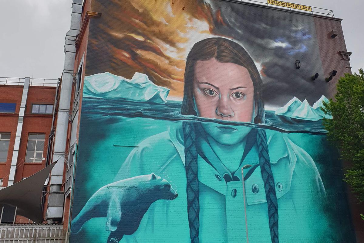 Mural of Greta Thunberg in Bristol, UK