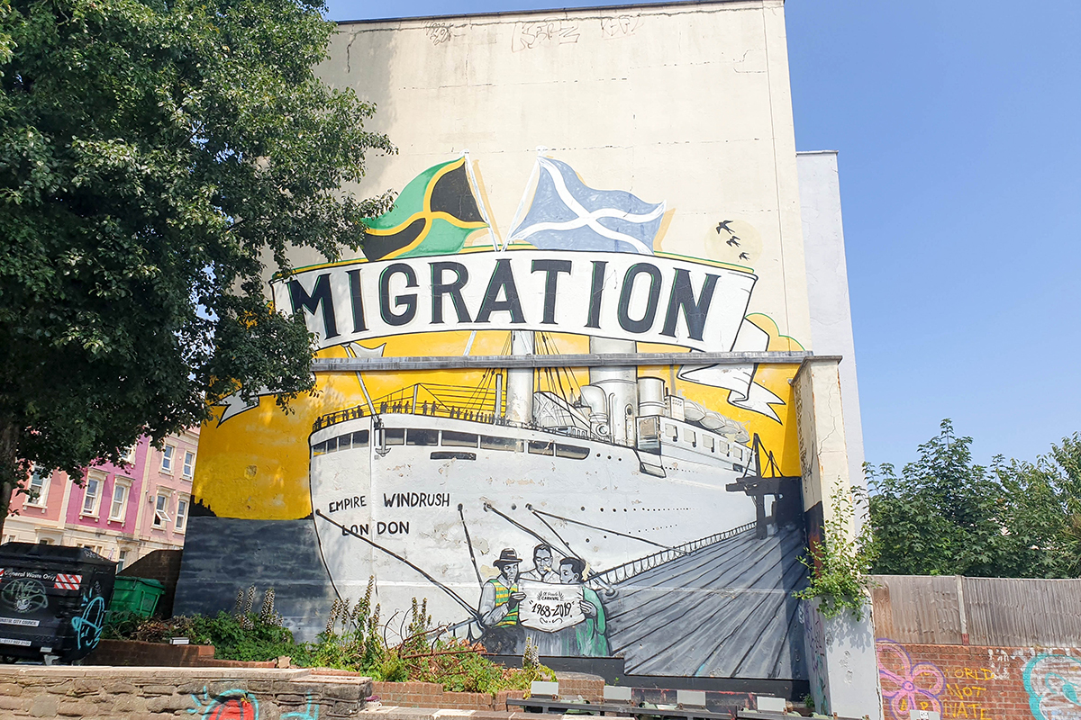 Mural depicting migration from Jamaica to England in St Paul's area of Bristol