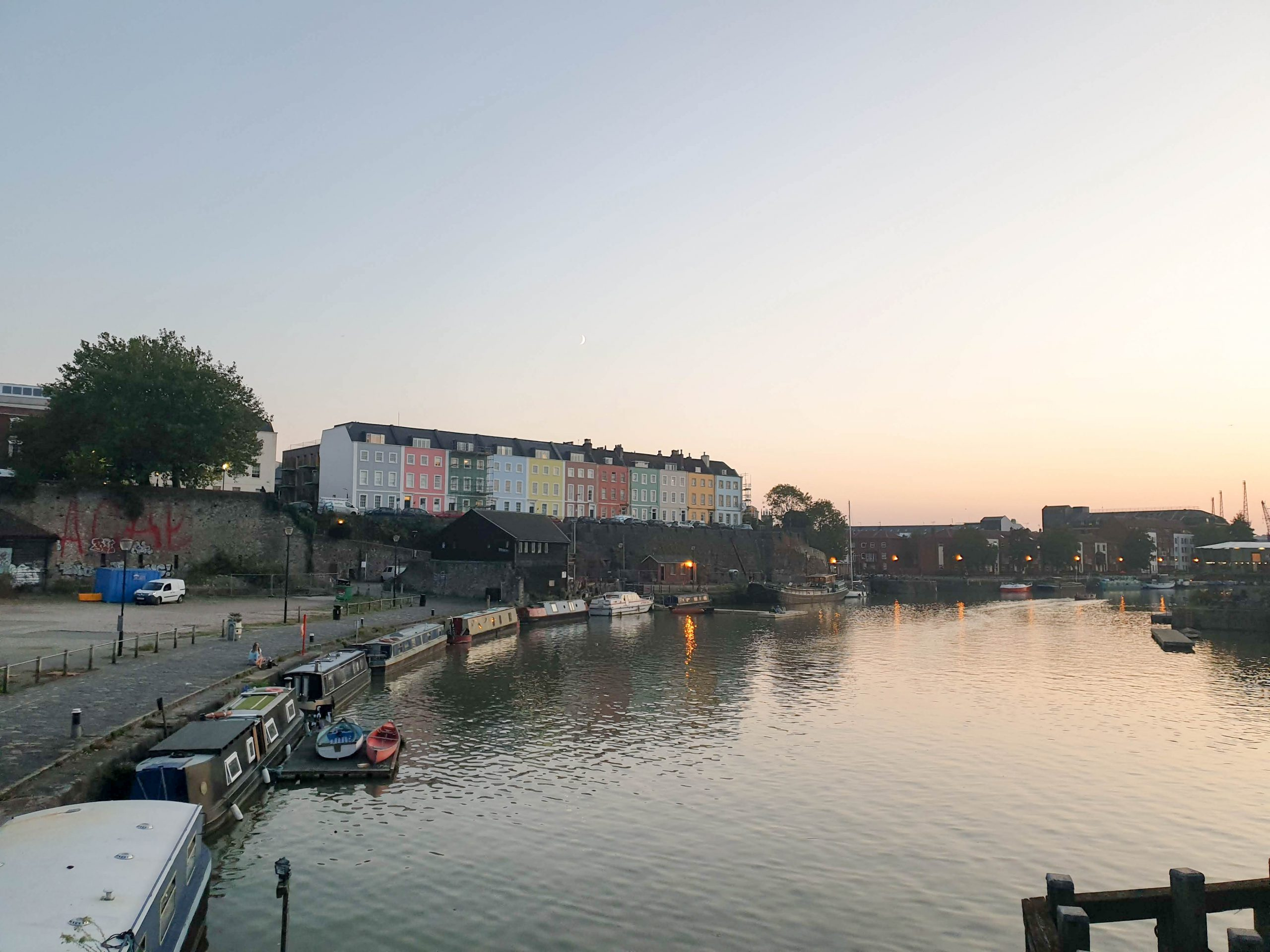 Harbourside and colourful houses in Bristol, UK