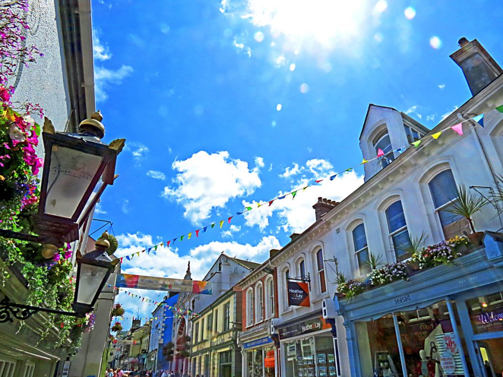 Falmouth Market Street in Summer, Cornwall