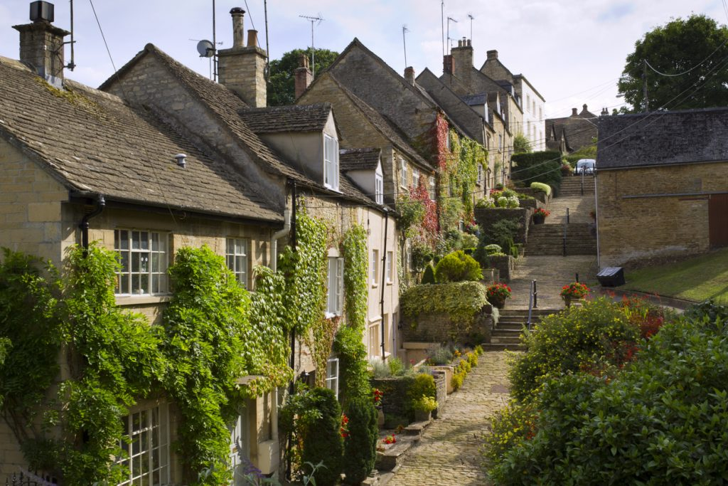 Beautiful row of historic houses in the Cotswolds