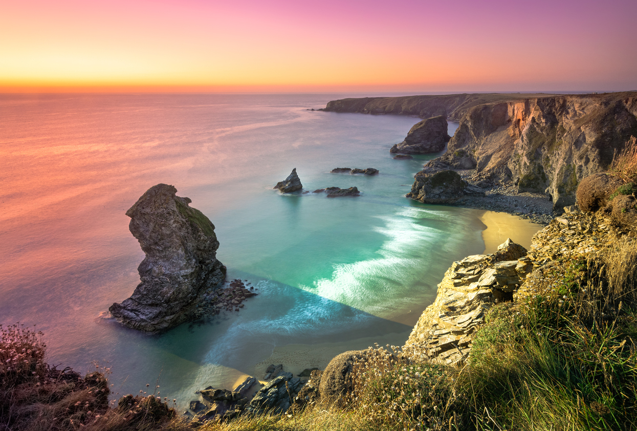 Carnewas and Bedruthan Steps is a stretch of coastline located on the north Cornish coast between Padstow and Newquay, in Cornwall, South West England, United Kingdom