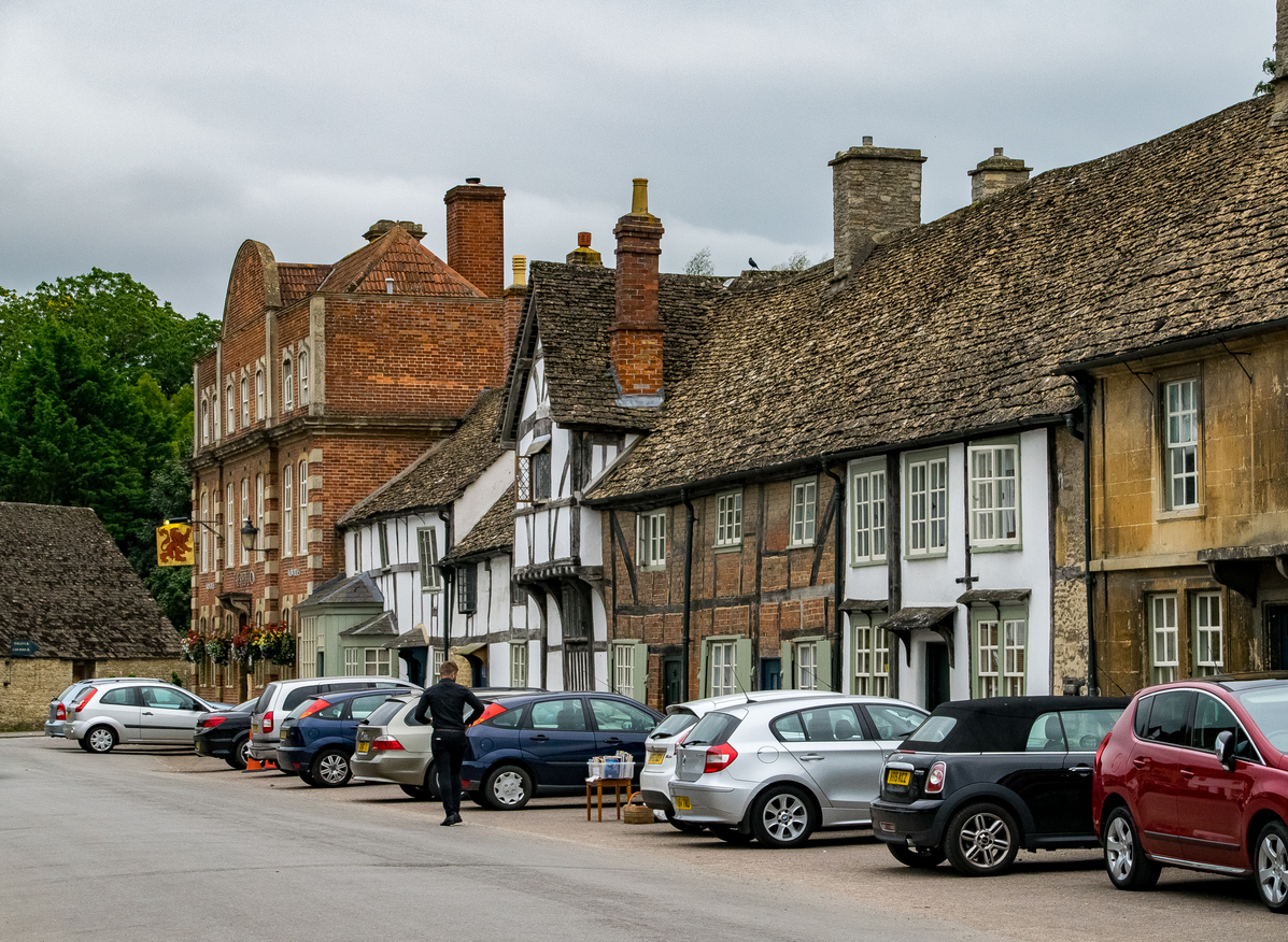 Lacock Street Scene on Cloudy Day, Wiltshire, England