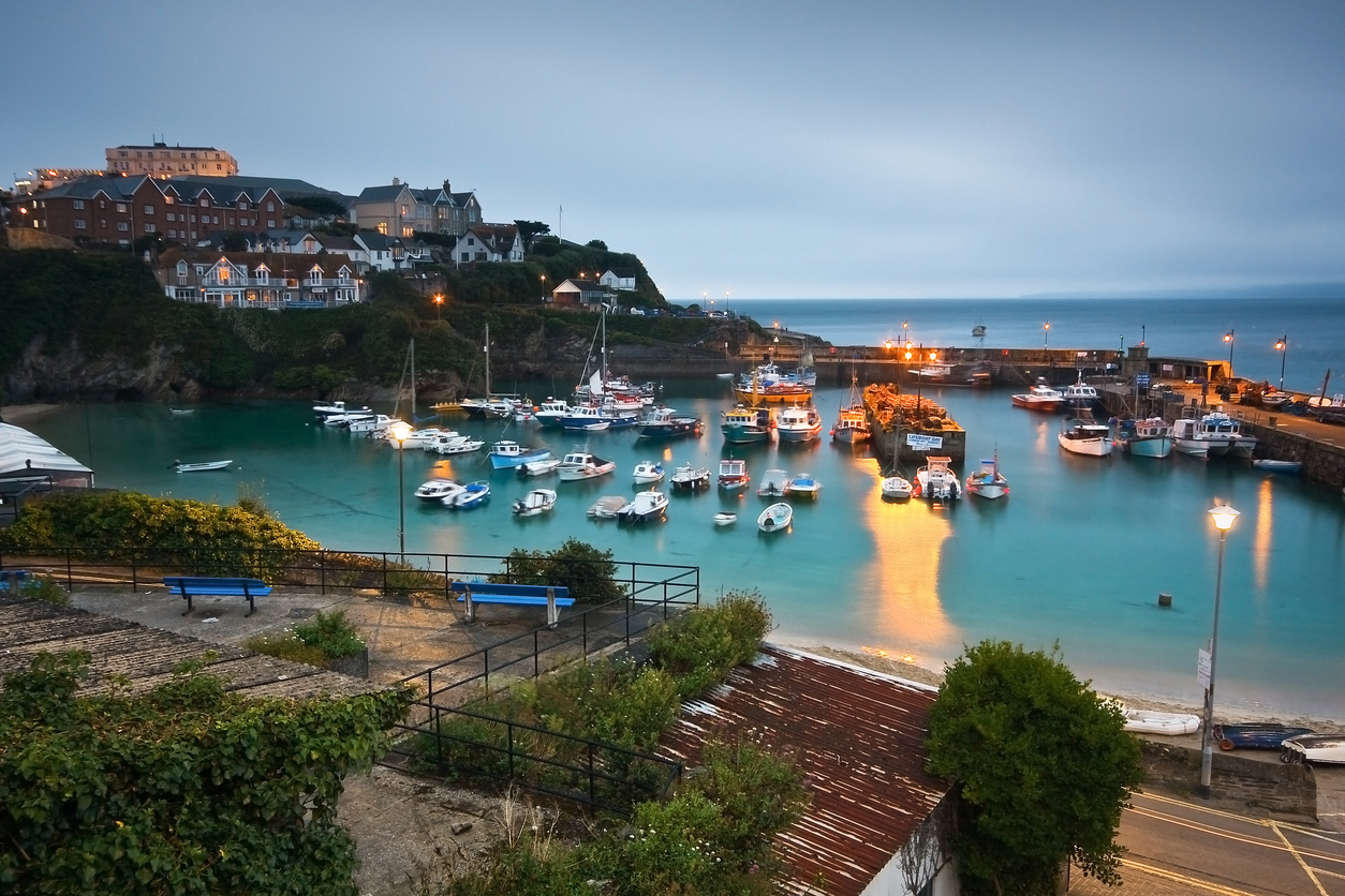 Sunset at Newquay harbour, Cornwall, UK.