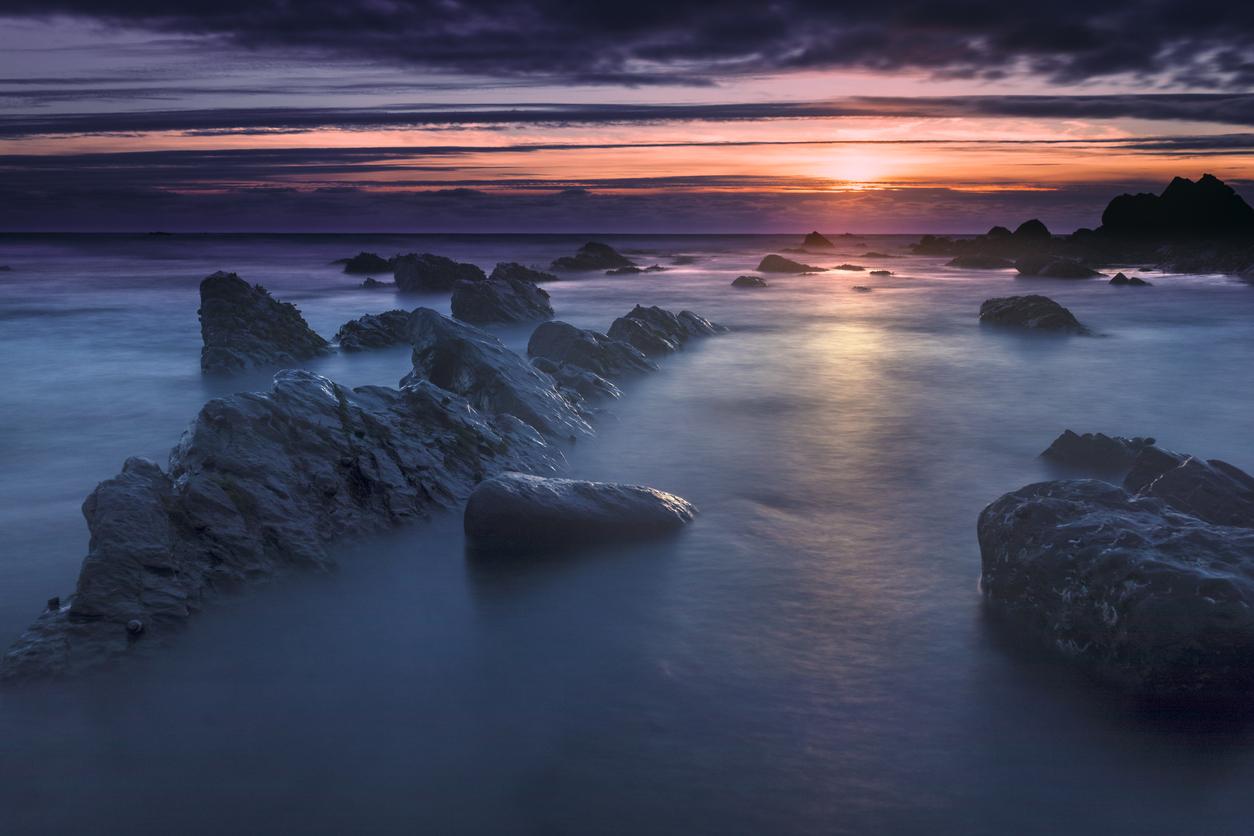 Bude, Cornwall, United Kingdom at sunset, beautiful seascape, sea against the rocks