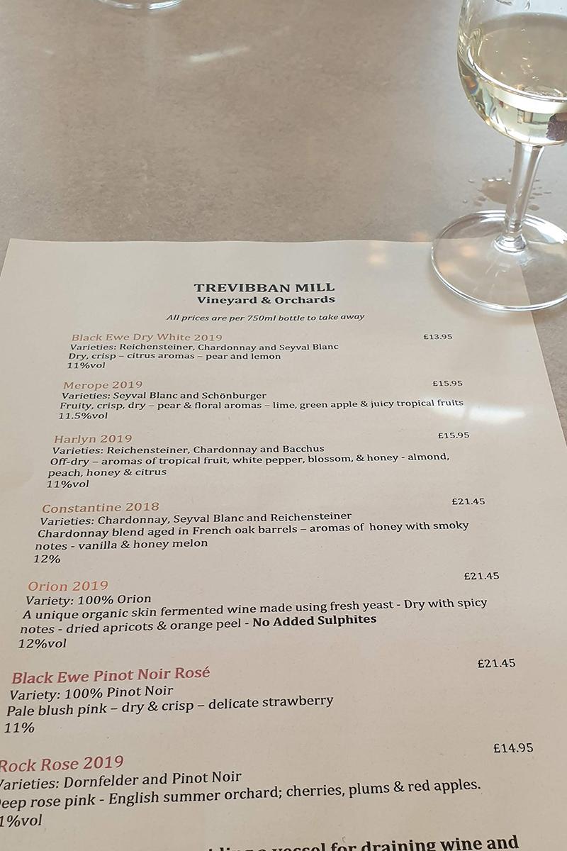 Menu at Trevibban Mill Winery in Cornwall