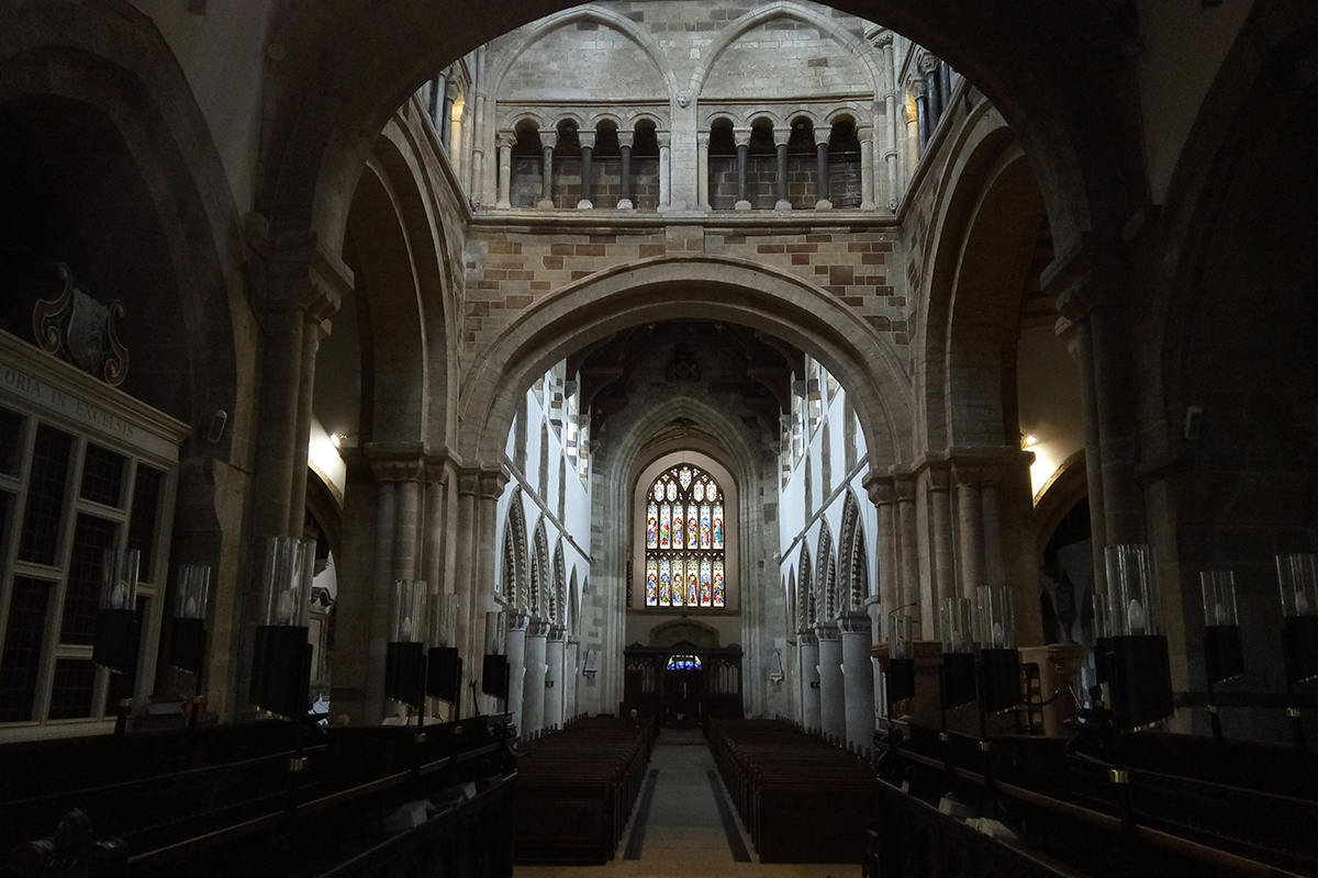 The inside of a church
