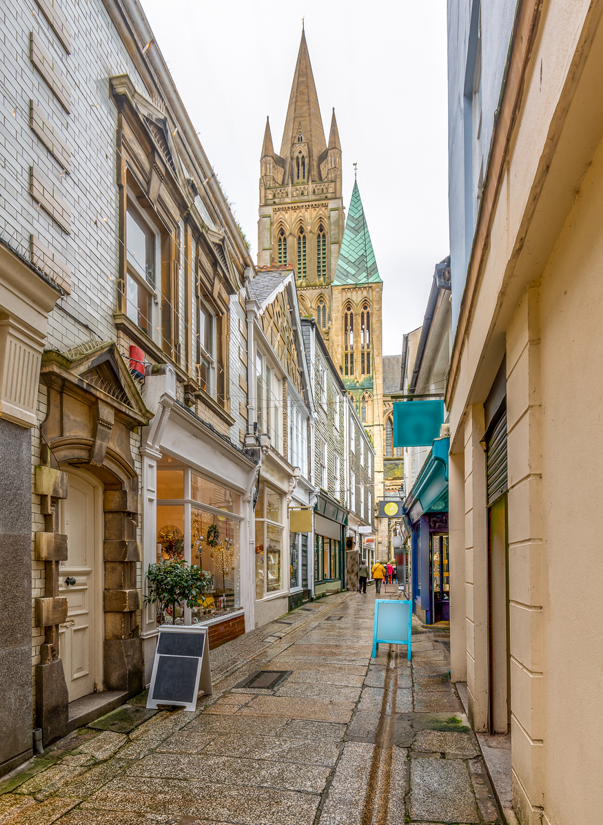 Shops in Cathedral Lane, Truro in Cornwall