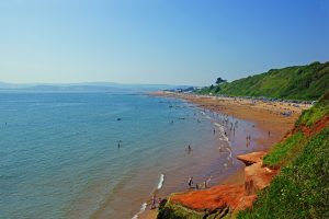 Orcombe point, Exmouth beach on the Jurassic coast of Devon, UK