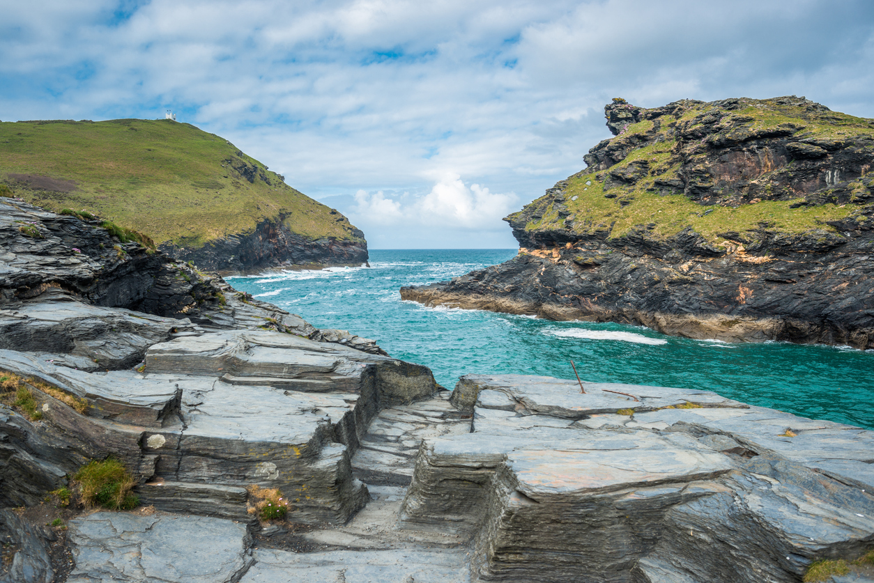 Warren point at the entrance of Boscastle Harbour in North Cornwall, England, UK.