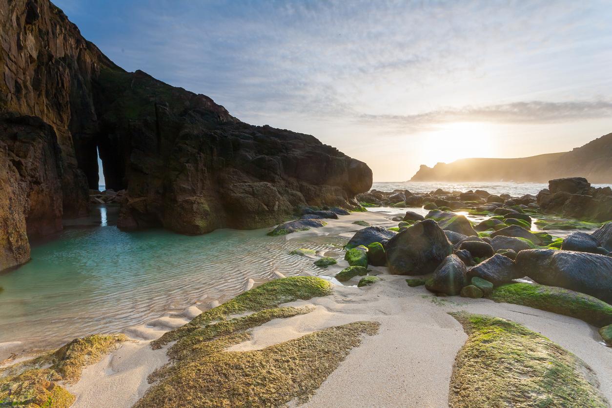 Nanjizal Beach Sunset Cornwall England UK