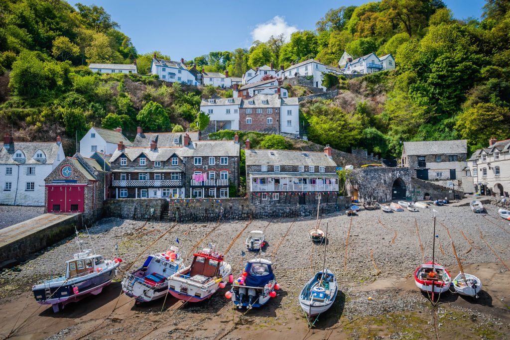 Boats in Clovelly, in North Devon