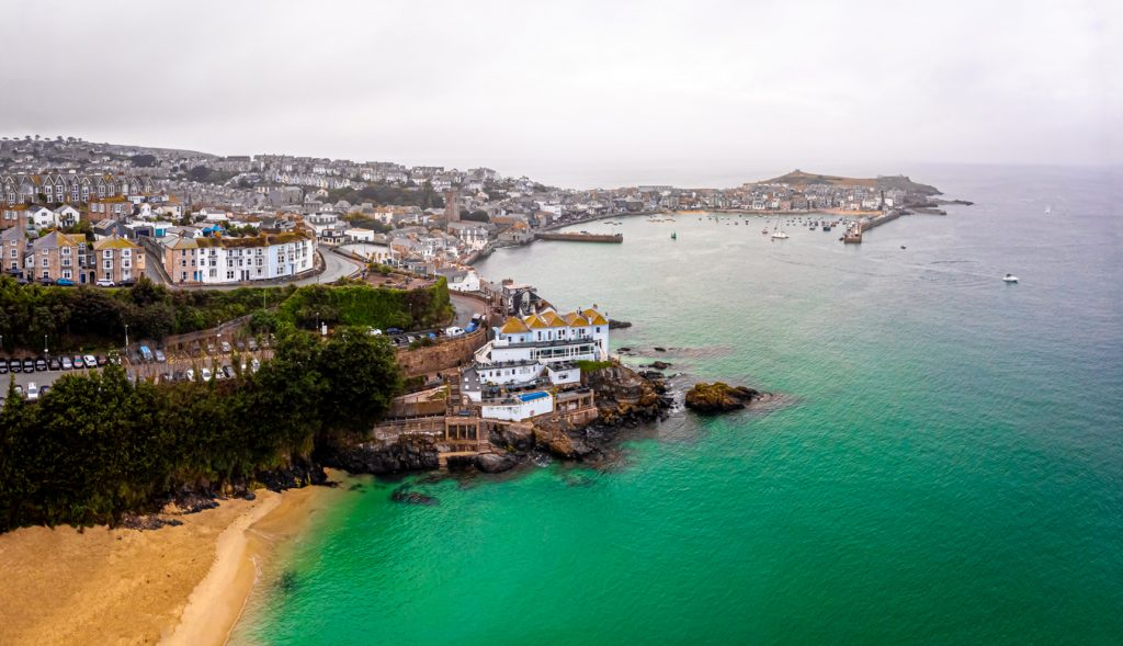 Aerial view of St Ives in the evening, Cornwall, UK