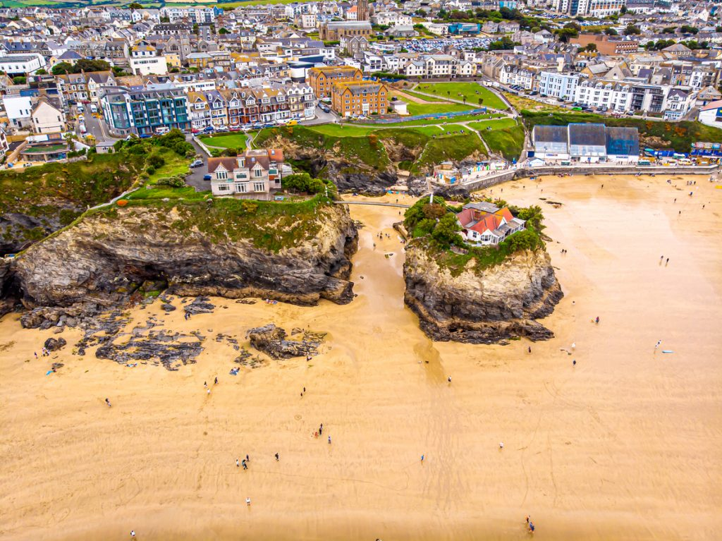 Birds Eye View of Newquay in Cornwall