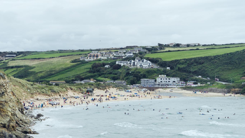 Busy Cornish beach in the summer