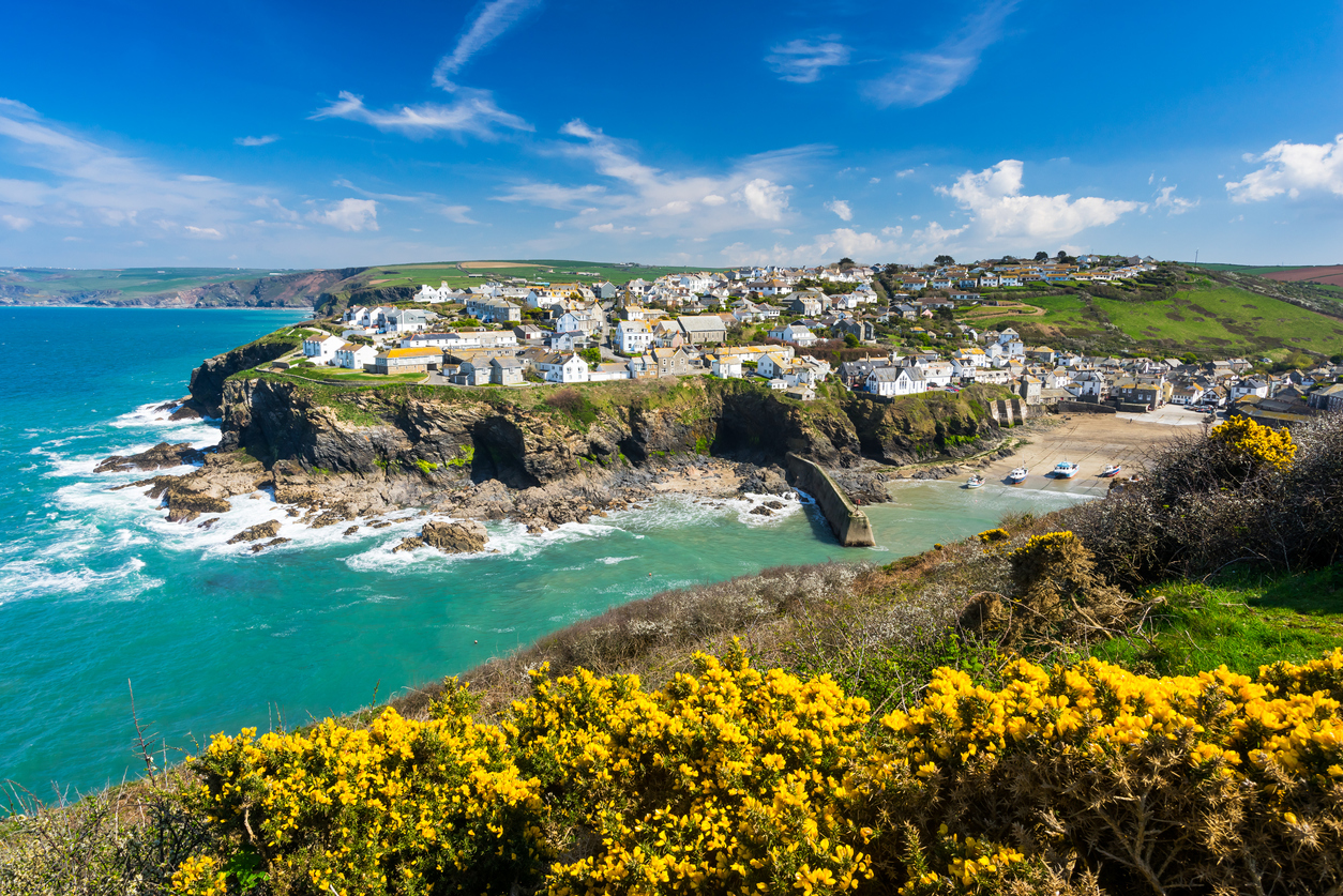 Epic view of Port Isaac village in Cornwall, South West England