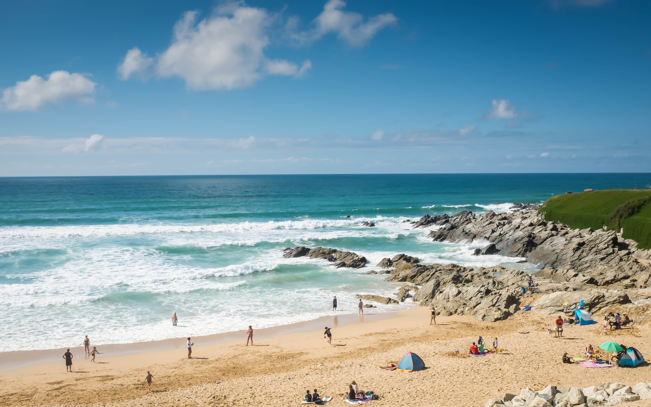 Fistral beach, Cornwall, South West England in summer.