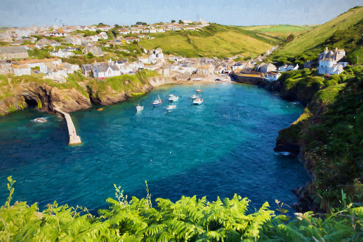 Boast in English harbour Port Isaac Cornwall illustratione oil painting