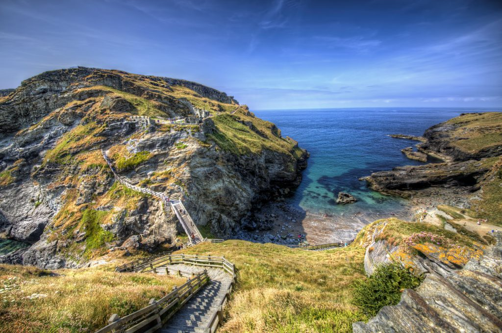 Tintagel Castle in Cornwall, South West England
