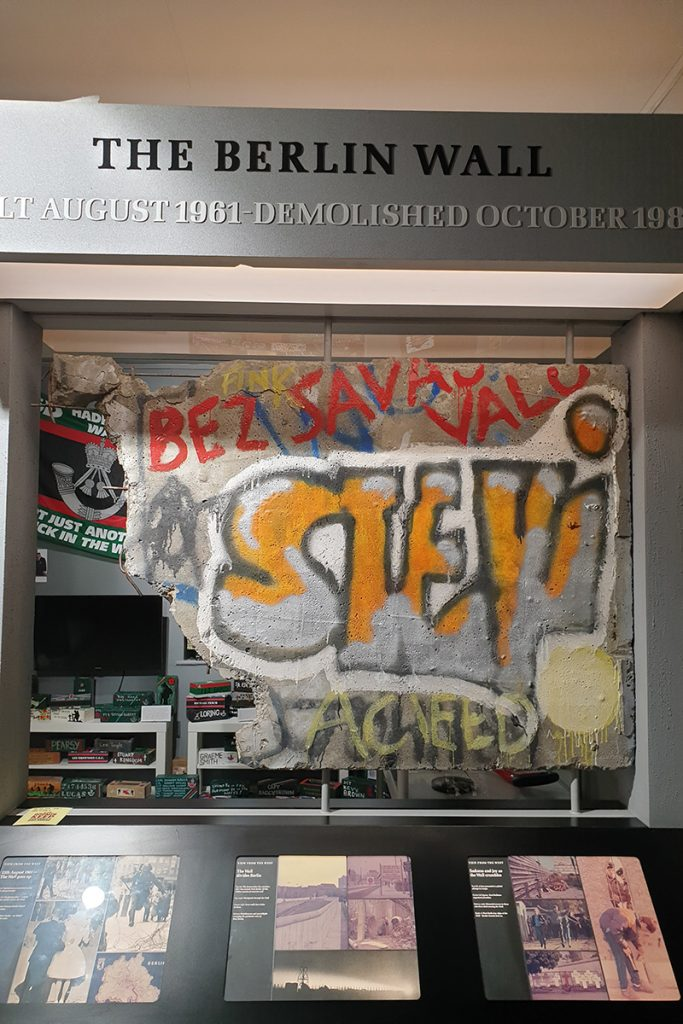A piece of the Berlin Wall in Bodmin Keep, Cornwall, South West England