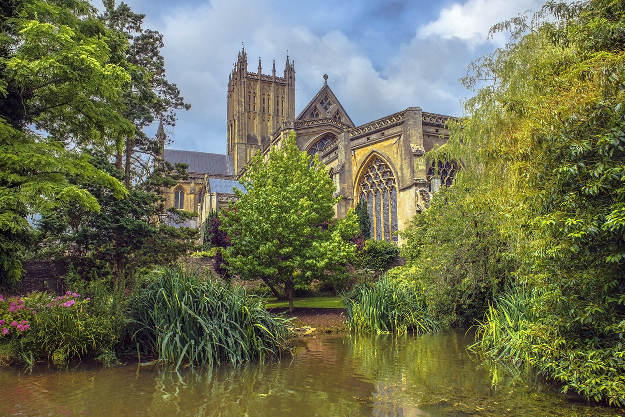 Pond Near Wells Cathedral, Somerset, South West England