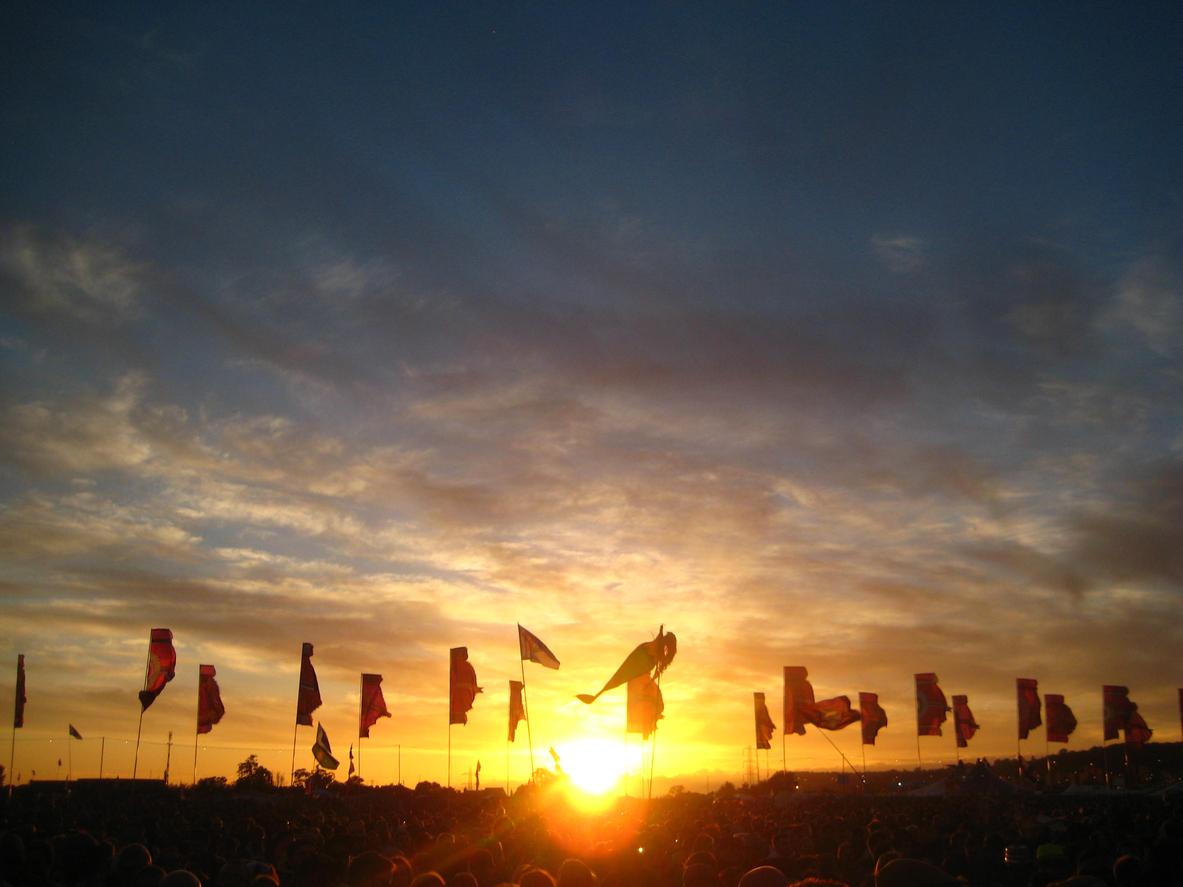 Sunset over Glastonbury Festival, Somerset, South West England