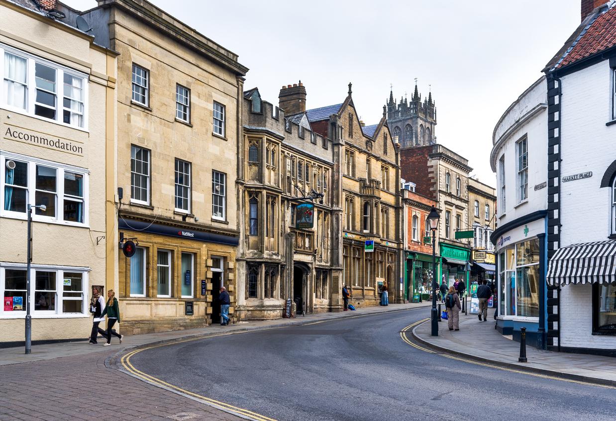 Glastonbury High Street, Somerset, South West England