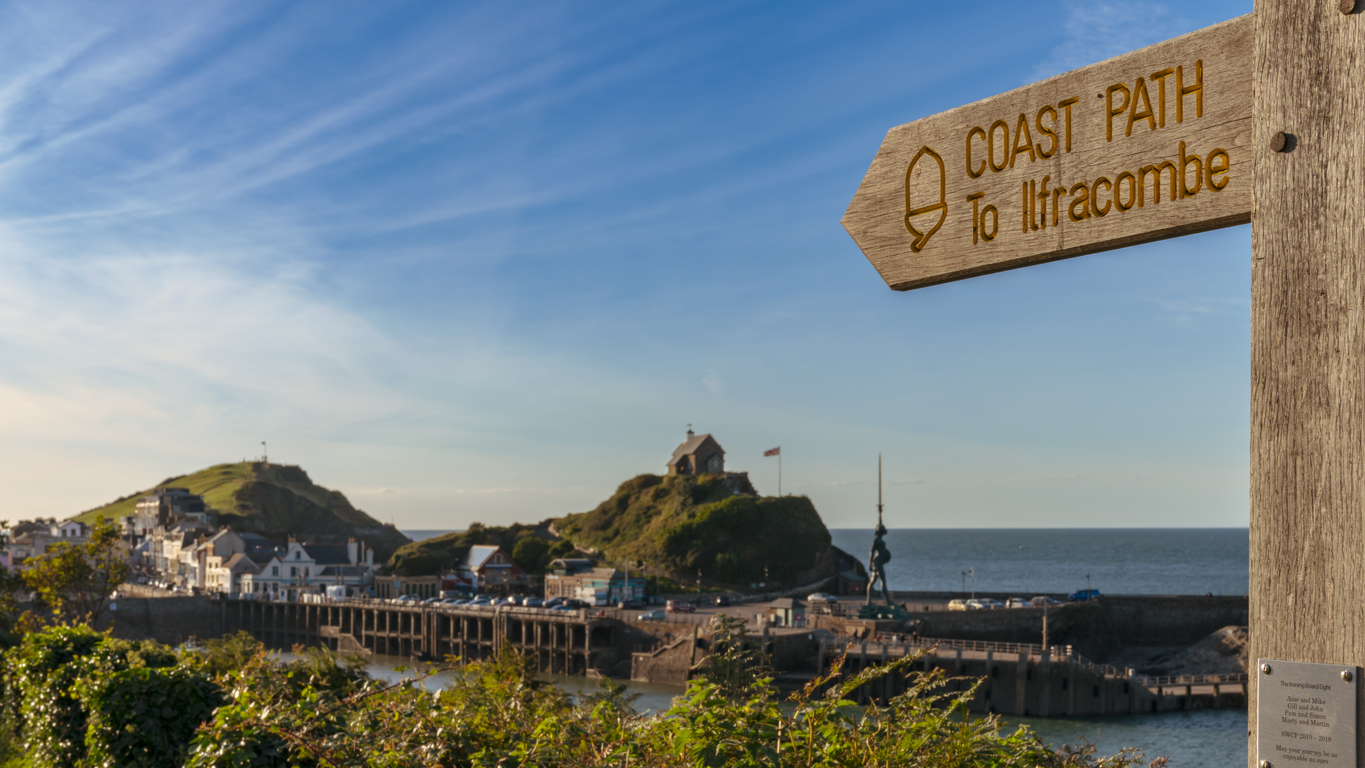 The South West Coast Path sign near Ilfracombe in North Devon