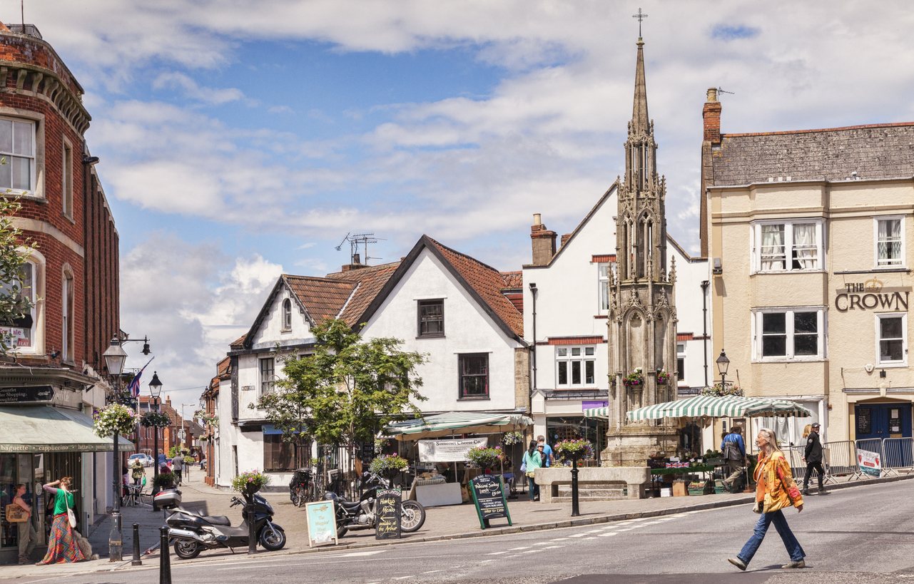 Town centre of Glastonbury, Somerset, South West England