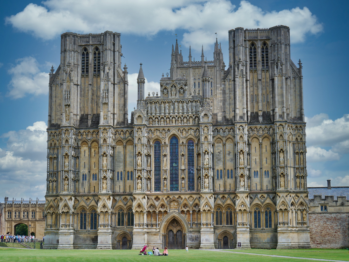 Gothic Wells Cathedral in Somerset, South West England