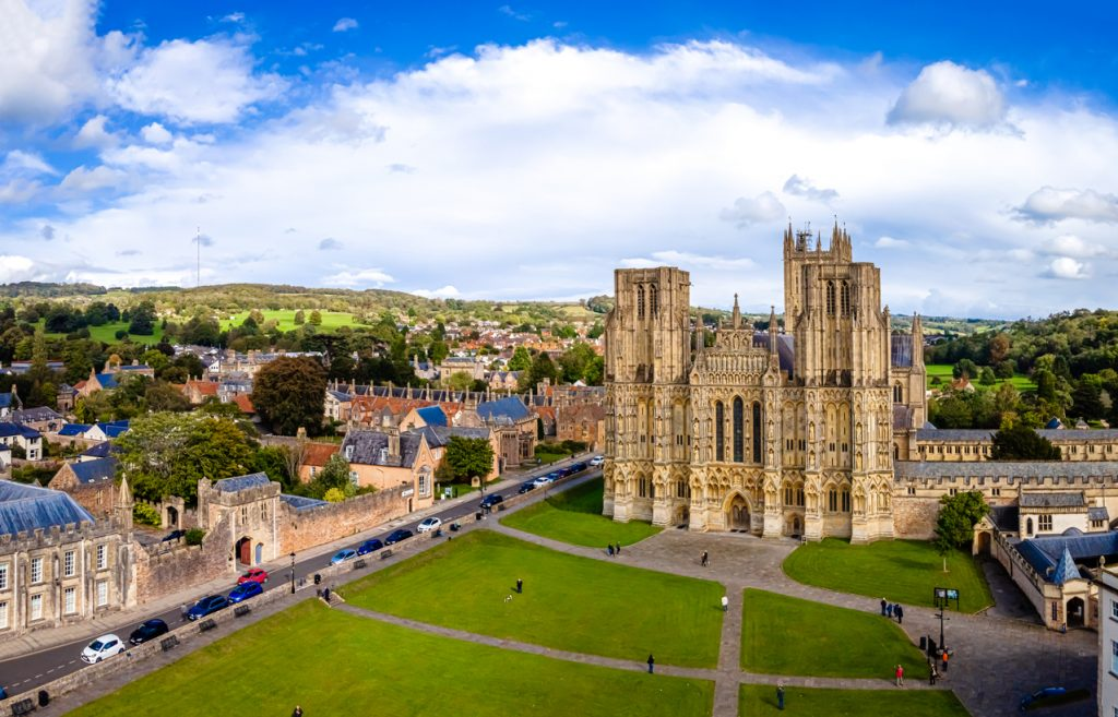 Wells Cathedral in Somerset, South West England, UK