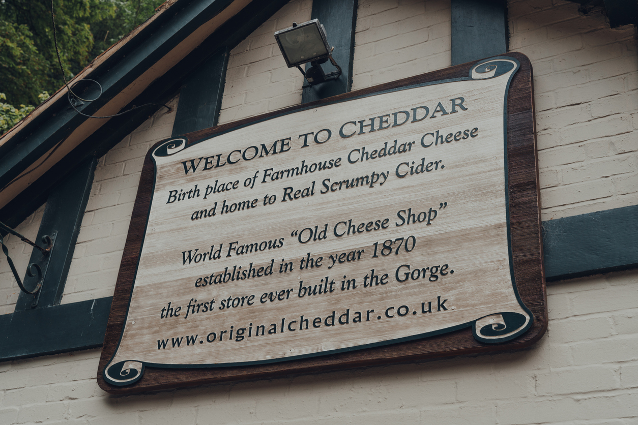 Cheddar Welcome Sign, in Somerset, South West England