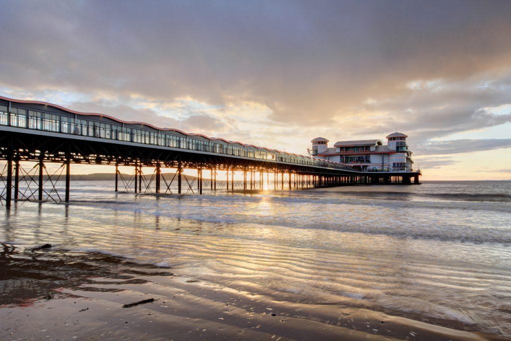 Sunset Weston Super Mare pier in Somerset