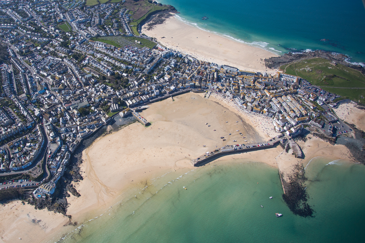 Birds eye view of beautiful St Ives beaches in Cornwall