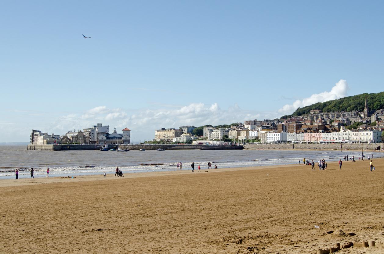 Weston Super Mare Beach on a sunny day