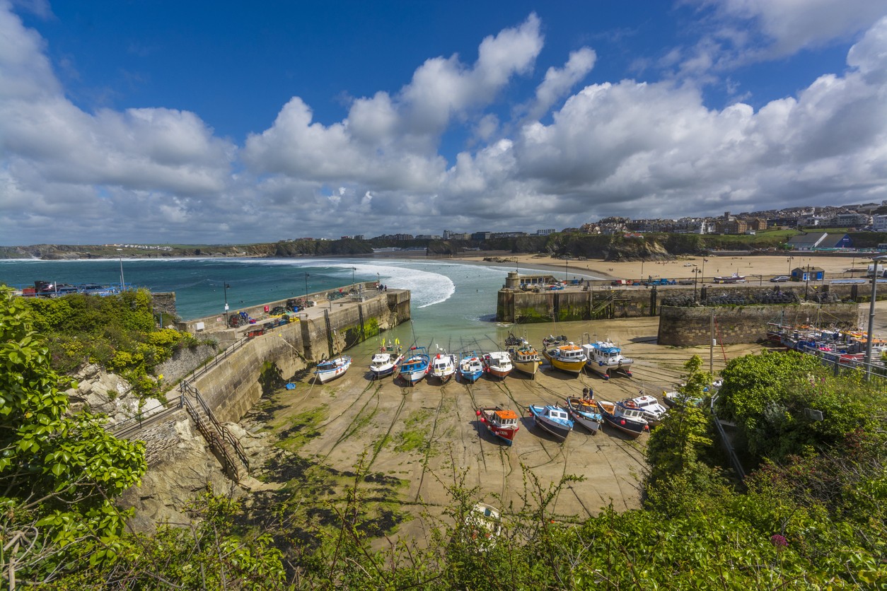 Fishing harbour in Newquay, Cornwall, South West England