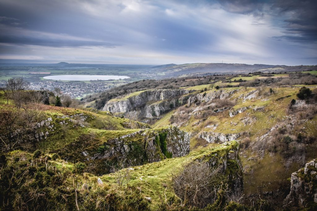 Cheddar Gorge Panorama in Somerset, South West England