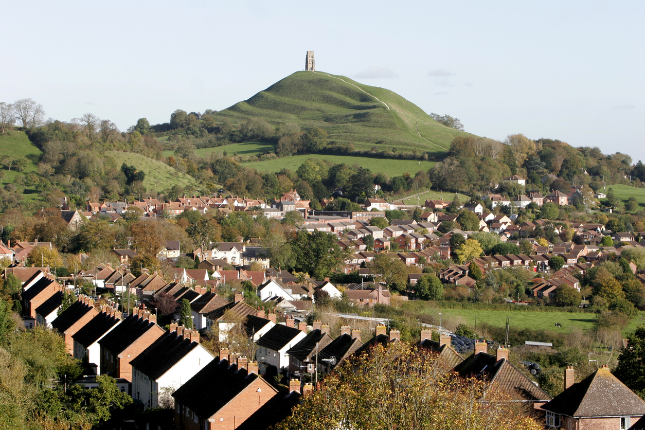 Glastonbury Tor and houses, Somerset, South West England