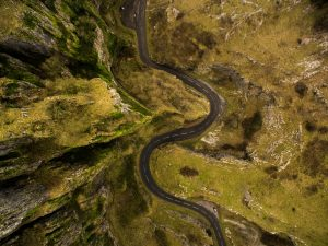 Birds eye view of the road leading through Cheddar Gorge, Somerset, South West England