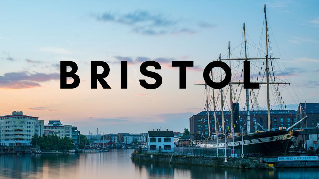 Button showing Bristol Harbourside