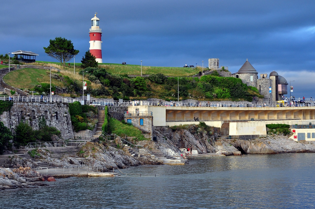 Plymouth harbour and lighthouse