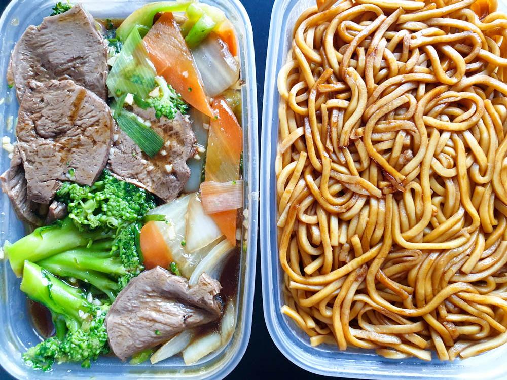 vegan mock beef and brocolli and noodles