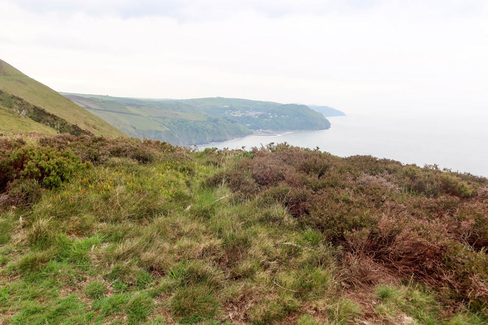 View of Lynmouth in distance on hike from Porlock