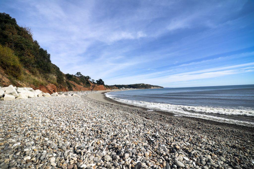 A photo of Seaton beach and coastline in Devon.