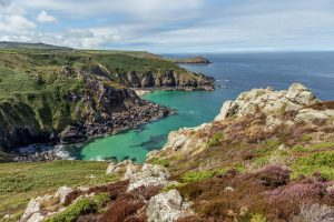 The view across two coves from the Cornish Coastal Path, Cornwall